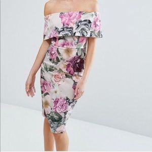 Floral Deep Fold Bardot Midi Dress